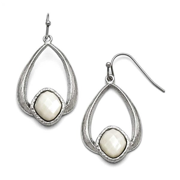 Chisel Stainless Steel Polished/Textured Mother of Pearl Earrings