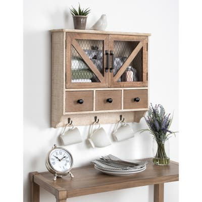 Kate and Laurel Hutchins Rustic Wood Decorative Wall Cabinet