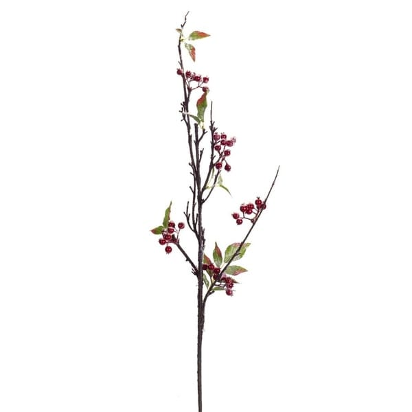 "Club Pack of 12 Decorative Winter Snowy Artificial Berry Branch 37"" - RED"