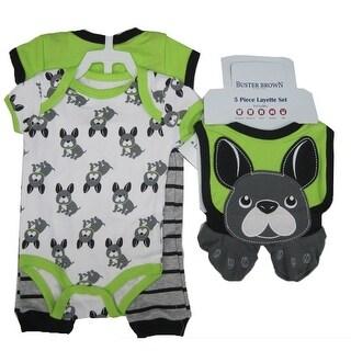 Buster Brown Baby Boys Green Dog Print Pants Bib Booties Bodysuit Set 0-9M