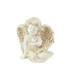 """6.5"""" Heavenly Gardens Distressed Ivory Sitting Cherub Angel w/ Bird Outdoor Patio Garden Statue"""
