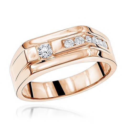 Unisex Wedding Band Round Diamond Ring for Men or Women 0.45ctw in 14k Gold by Luxurman