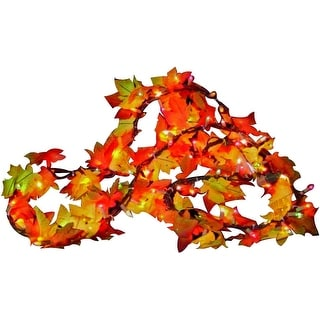 Sylvania V34825 Fall Color Lighted Leaf Garland, 9'