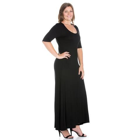 24seven Comfort Apparel Elbow Length Sleeve Plus Size Maxi Dress