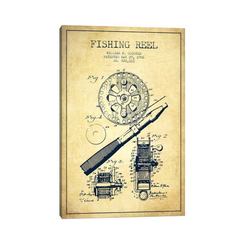 "iCanvas ""Fishing Reel Vintage Patent Blueprint"" by Aged Pixel Canvas Print"