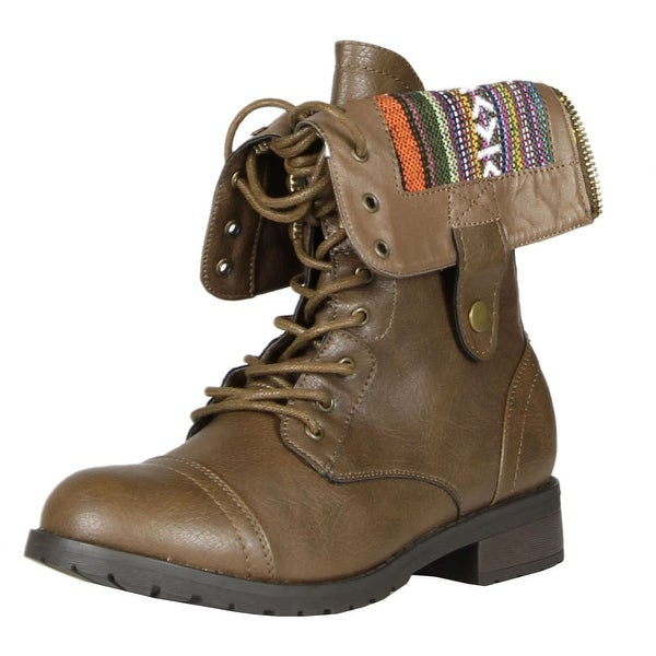 Refresh Terra-06 Women's Lace-Up Combat Boots - taupe