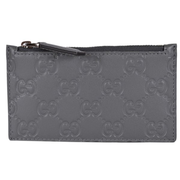 af01cacd3ea Gucci 435366 Grey Leather GG Guccissima Zip Top Slim Small Card Case Wallet  - 5