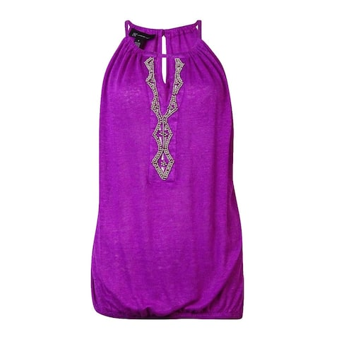 INC International Concepts Women's Beaded Keyhole Line Top