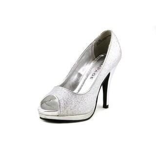 Rampage Gracee Women Open Toe Canvas Silver Platform Heel