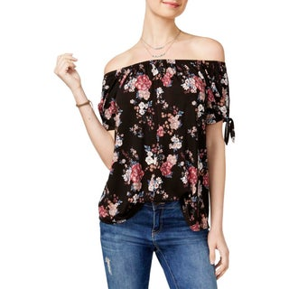Pink Republic Womens Juniors Casual Top Cut-Out Floral Print - XL