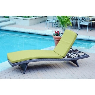 """80"""" Adjustable Espresso Resin Wicker Outdoor Patio Chaise Lounge Chair - Green Cushion"""