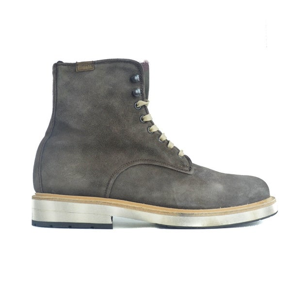 e22907dfbd9 Shop Lo. White Mens Brown Distressed Suede High Top Lace Boots~RTL ...