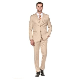 Porto Filo Khaki Color 3Pcs Slim-Fit Men's Suit (Jacket+ Pant+Vest))