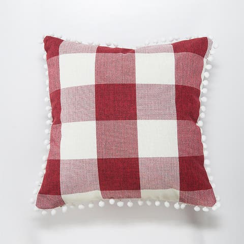 "Luxury Collection Pom Pom Plaid Pillow Decorative Throw Cover for Couch or Sofa 18"" x 18"""
