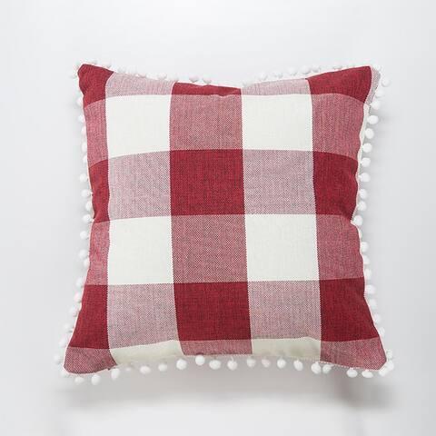"""AIRI 18"""" x 18"""" Pom Poms Plaid Pillow Decor Throw Pillowcover"""