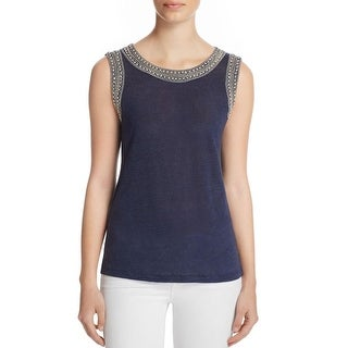 Generation Love Womens Lucy Crystal Pullover Top Embellished Linen