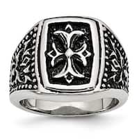 Stainless Steel IP Black Plated Cross Men's Ring