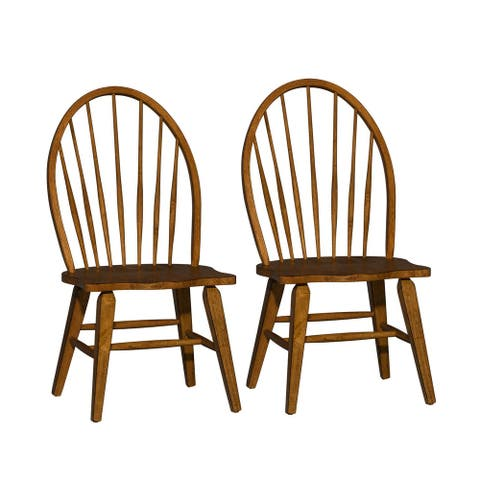 The Gray Barn Wisteria Traditional Rustic Oak Windsor Dining Chair (Set of 2)