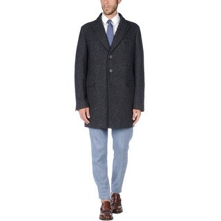 Herno Mens Donegal Twill Overcoat Navy Blue Coat 46 Made In Italy 56