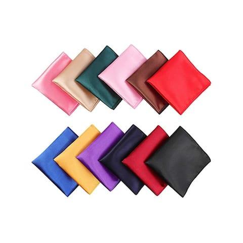 "Men's Assorted Pocket Squares Handkerchief For Wedding Party - 12 Pcs - 17"" X 17"""