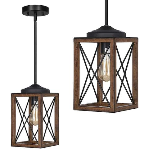 Rustic frame net pendant light fixture Farmhouse adjustable hanging light for Slop Ceiling