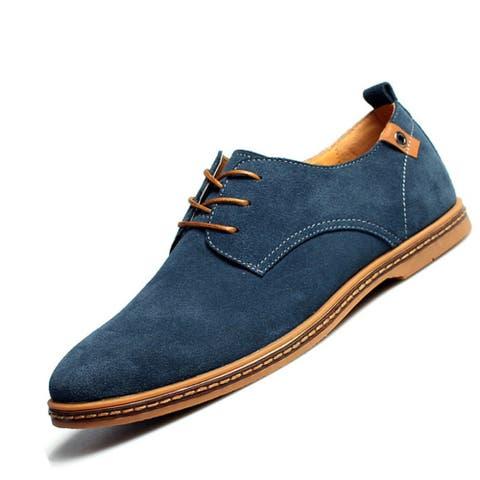 Men Casual Shoes Flats Suede Oxfords Leather Shoes Zapatillas Hombre Size 38-48