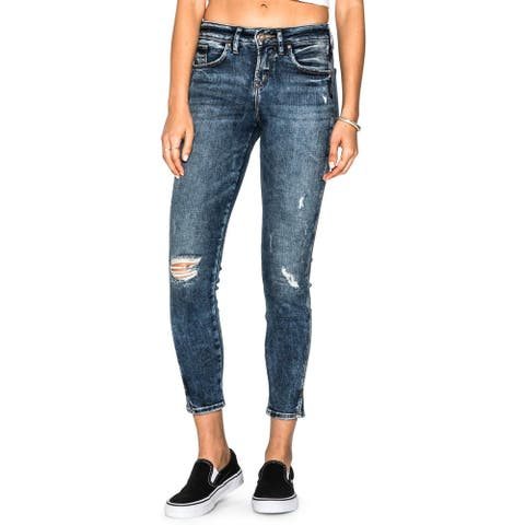 Silver Jeans Co. Womens Juniors Avery Ankle Jeans Acid Wash Ripped