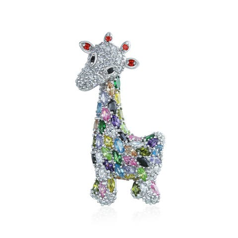 Giraffe Zoo Animal Brooch Pin CZ Colorful Pave Cubic Zirconia - 1.75