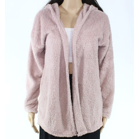 Pink Rose Womens Sweater Pink Size Small S Cardigan Hooded Open Front