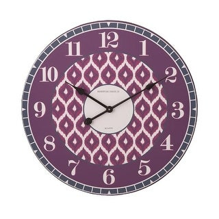 "23.75"" Shades of Red and Magenta Pink Geometric Patterned Decorative Round Wall Clock"