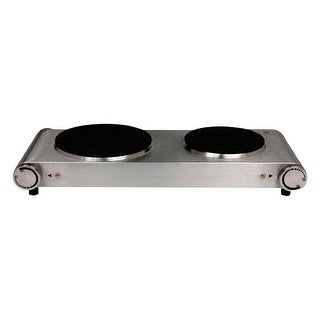 Nesco DB-02 Double Electric Burner, 1800-watt, 120 volts, Stainless Steel