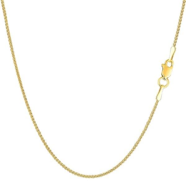 Mcs Jewelry Inc 14 KARAT YELLOW GOLD ROUND DIAMOND CUT WHEAT CHAIN NECKLACE (1.2MM)