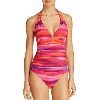 Lauren Ralph Lauren Women One Piece Swimsuit 10 Multi Ombre Ikat Halter Slim Fit