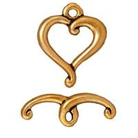 TierraCast 22K Gold Plated Pewter Scroll Heart Toggle Clasp 14mm (1)