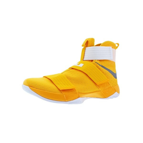 uk availability 5b46f cf9ce Nike LeBron Soldier 10 Men  x27 s Mesh High-Top Basketball Shoes Yellow