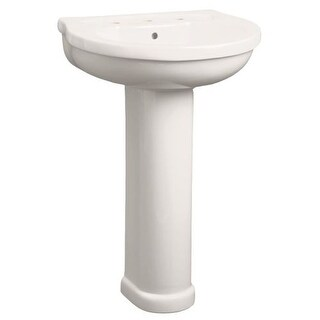 "Mirabelle MIRPR354 Provincetown 22"" Porcelain Pedestal Bathroom Sink Only with Overflow and 3 Faucet Holes (4"" Centers)"