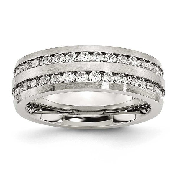 Stainless Steel 7mm Double Row CZ Ring