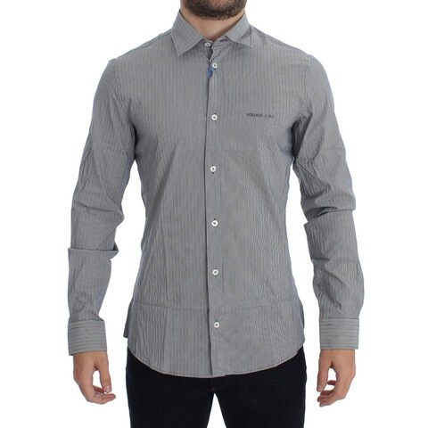 Versace Versace Gray Striped Slim Fit Cotton Shirt - 48-m