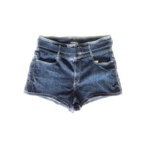 Express Women's Mid Rise Shorts, Medium Wash, 14