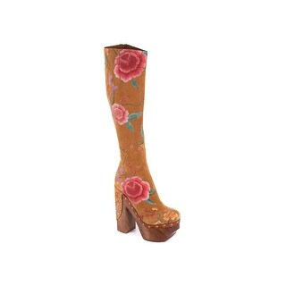Roberto Cavalli Womens Studded Suede Floral Platform Clogs Boots
