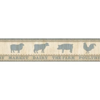 Brewster CTR63132B Grace Blue Farmers Market Border Wallpaper