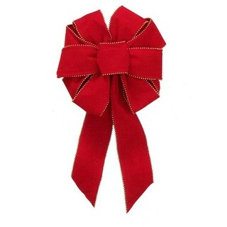 "9"" x 16"" Deluxe Red Indoor Velveteen 10 Loop Christmas Bow with Gold Bead Trim"