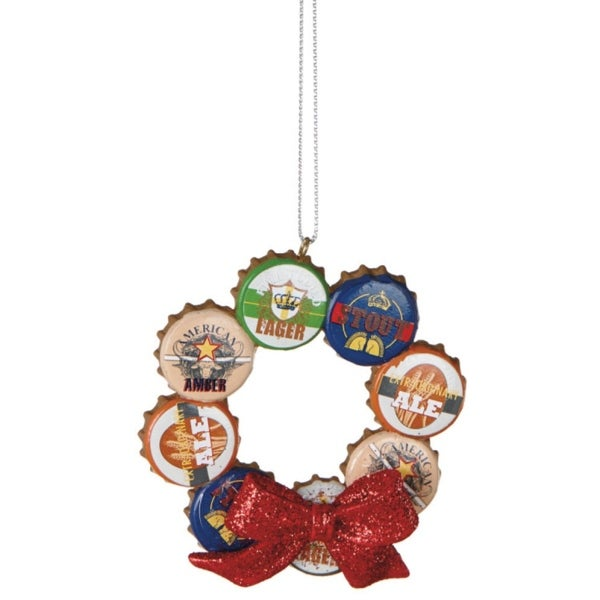 "3"" Lager Bottle Cap Wreath with Embellished Red Bow Christmas Ornament"