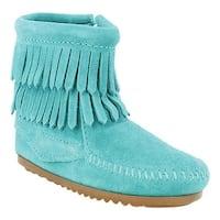 Minnetonka Girls' Double Fringe Side Zip Boot Turquoise Suede