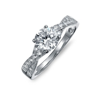 Bling Jewelry Silver 1.2ct CZ Solitaire Pave Side Stones Engagement Ring