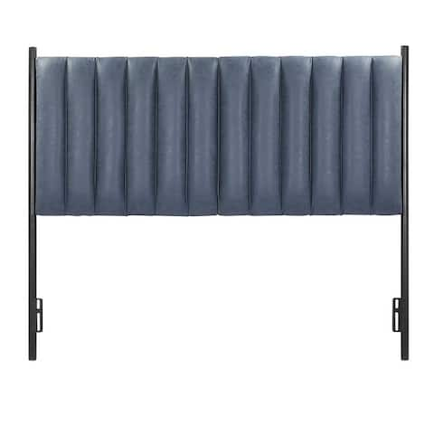 Chloe Queen Headboard in Black Metal & Faux Leather