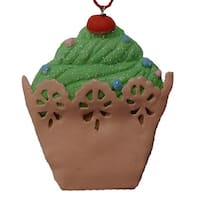 Sweet Memories Green Cupcake with Cherry on Top Christmas Ornament - multi