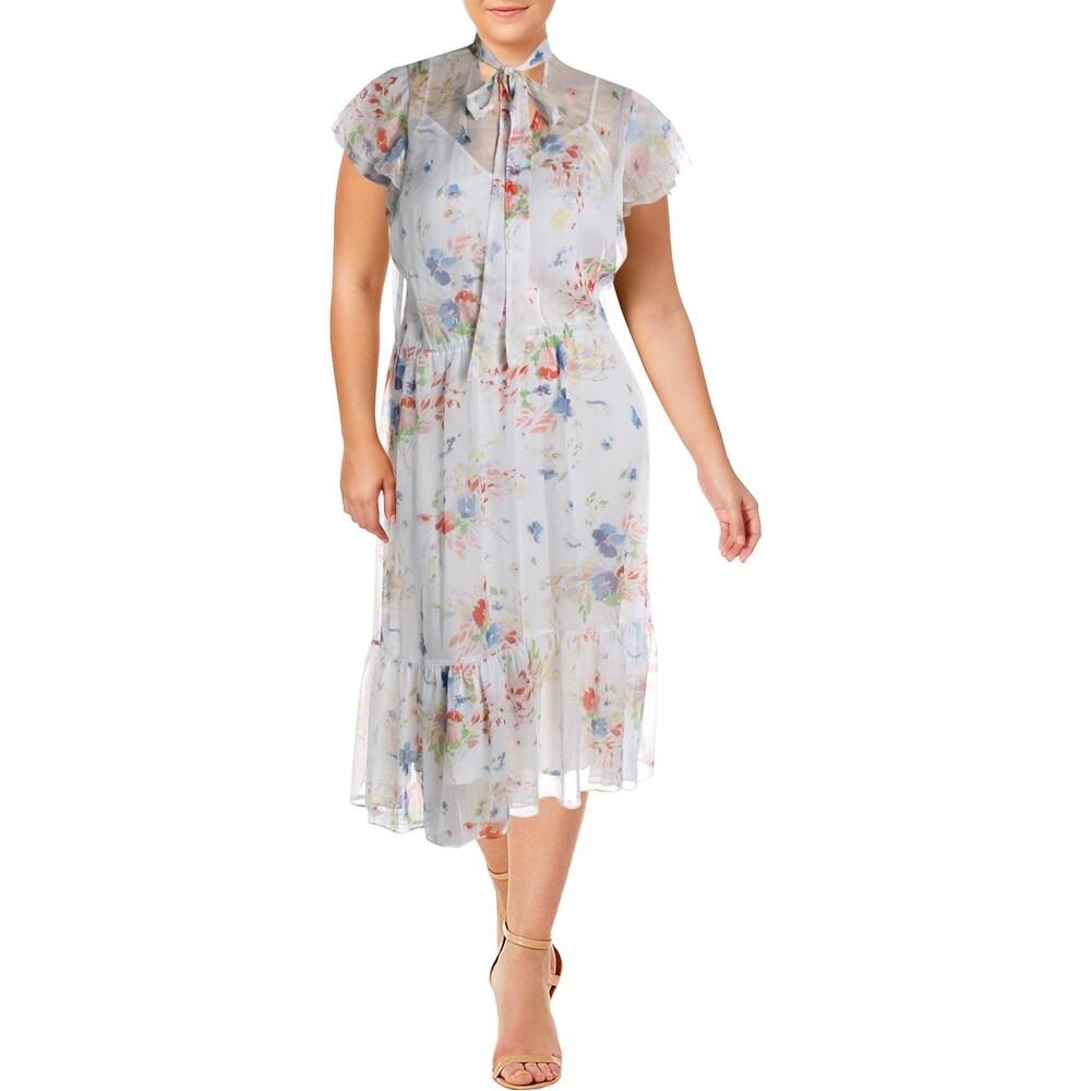 Lauren Ralph Lauren Womens Willow Casual Dress Floral Ruffle - White Multi