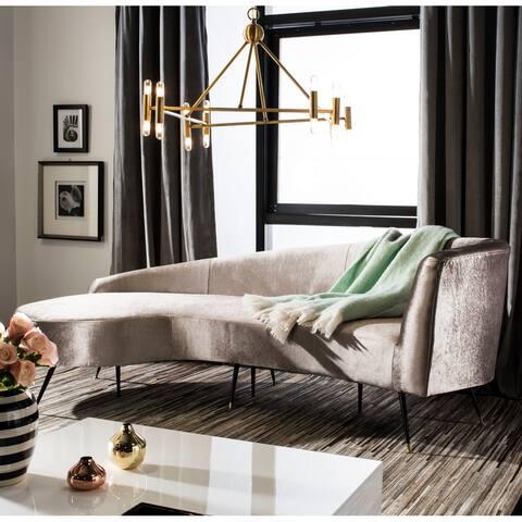 Safavieh Couture Evangeline Velvet Parisian Sofa -Champagne / Black
