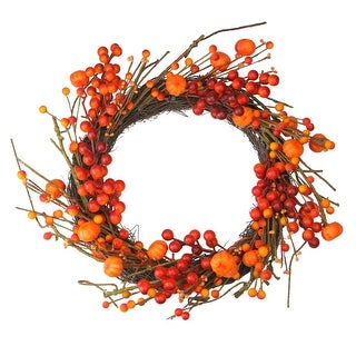 Red and Orange Fall Berry and Mini Pumpkin Artificial Thanksgiving Wreath